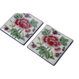 Hand Painted Flower Graphic Square Porcelain Coaster / Tile 2 Pcs ws671S