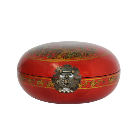 round box - oriental red box - flower bird graphic box