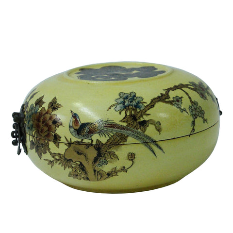 round box - oriental yellow box - flower bird box