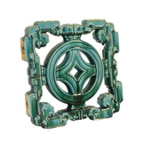 clay tile - turquoise green tile - coin pattern tile