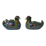 Pair Chinese Metal Mixed Color Enamel Cloisonne Mandarin Duck Figures ws712S