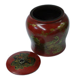 Chinese Oriental Red Flower Birds Scenery Round Decor Box ws713S