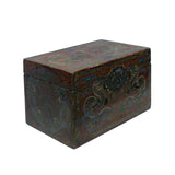 Chinese Distressed Red Dragons Graphic Rectangular Shape Box ws714S