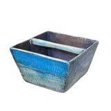 Chinese Village Vintage Wood Square Blue Lacquer Handle Bucket ws754S