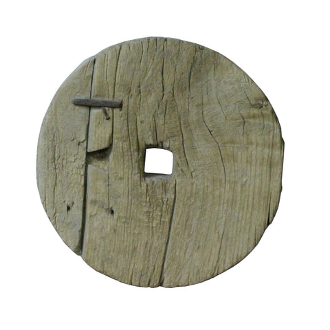 wood panel - rustic wood wheel - round thick board
