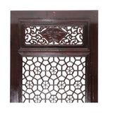 Chinese Dark Brown Geometric Lattice Pattern Wall Panel Headboard ws757S