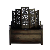 Chinese Distressed Brown Black Vintage Carving Display Shrine Chest Stand ws763S