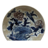 Chinese Beige Crackle Porcelain Flower Birds Graphic Charger Plate ws776S