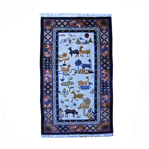 Tibetan Style Handmade Deer Motif Graphic Wool Rug Carpet  Runner ws794S