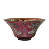 ceramic bowl - pink - butterflies