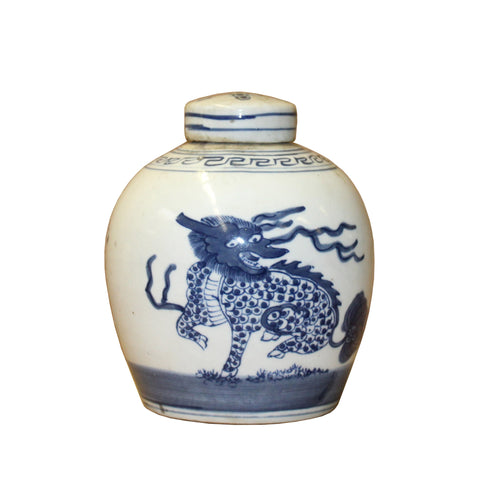 ginger jar - dragon jar - blue white
