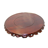 "Chinese Brown Wood Handmade Round Table Top Stand Display Easel 7.75"" ws818HS"