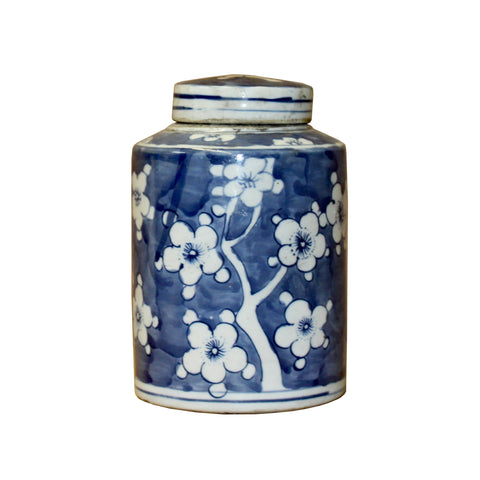 blue white jar - round  jar - Porcelain box