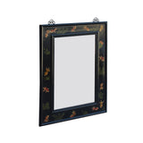 Oriental Flower Graphic Black Lacquer Wood Frame Wall Mirror ws835S