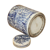 Chinese Blue White Ceramic Abstract Flower Graphic Container Urn Jar ws841S