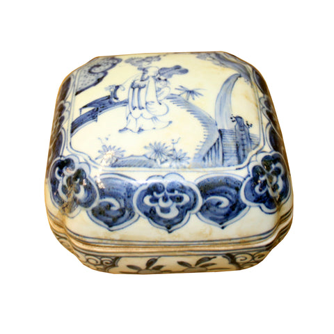 porcelain box - round ceramic box - blue white porcelain box