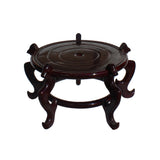 "Chinese Brown Wood Round Table Top Stand Display Easel 15"" ws883S"