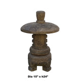 Chinese Gray Brown Lotus Round Stone Garden Lantern ws962S