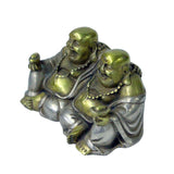 Oriental Rustic Metal Double Happy Buddha Statue Figure ws993S