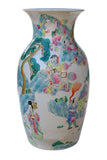 Chinese Colorful Family Gathering Scenery Porcelain Vase y723S