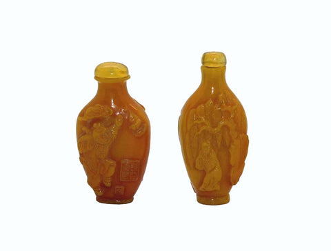 Two Yellow Resin Carved Happy Buddha,  Immortals, Scholar  Snuff Bottle Lot n367S