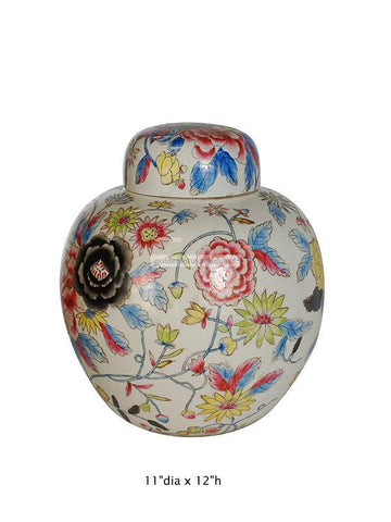Chinese Hand Painted Colorful Peony Flowers Motif Porcelain Jar