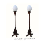 Pair Chinese Rosewood Carved Tall Floor Lamps
