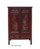 Vintage Chinese Flower Bird Graphic Accent Armoire