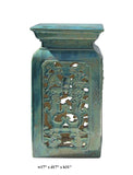 Chinese Ceramic Clay Turquoise Green Square Tall Pedestal Stand