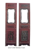 Pair Vintage Chinese Red Window Wood Panel Decor