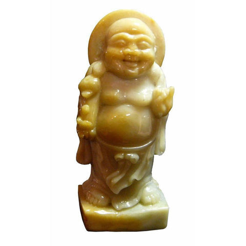 yellow nephrite Happy Buddha statue