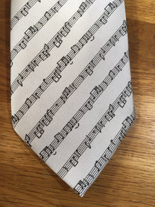 Polyester Tie - Grey with Black Music Stave
