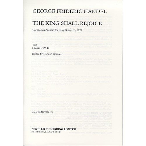 Handel G.F. - The King Shall Rejoice