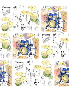 Little Snoring Gifts: Gift Wrap - Single 70 x 50cm Sheet (Drums Design)