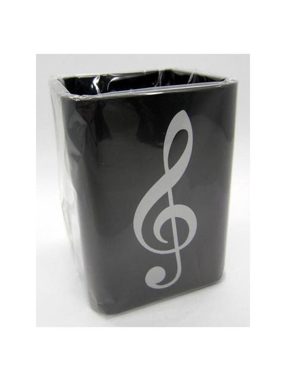Silver Treble Clef Square Plastic Pen Holder