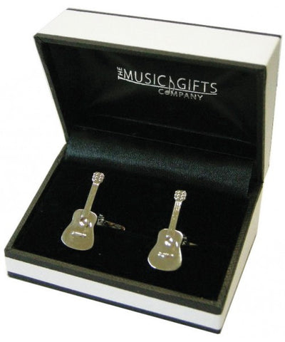 Acoustic Guitar Silver Plated Cufflinks