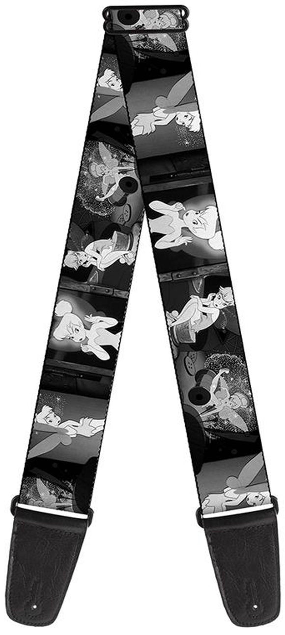 Licensed Tinker Bell Scenes Black/White Guitar Strap