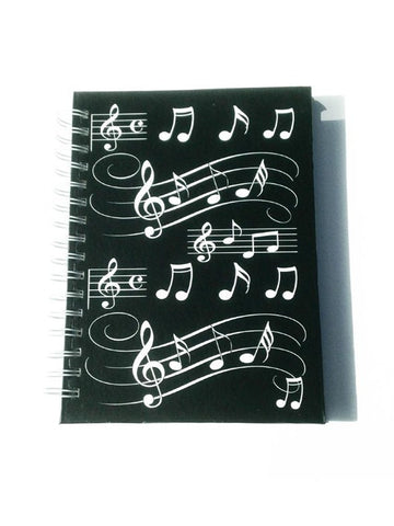 A6 Hardback Spiral Bound Notebook Black With White Musical Notes