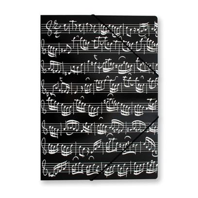 File with elastic band Sheet music black