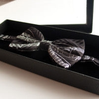 Bow Tie - Silk Black Manuscript White Staves
