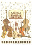 Greetings Card Birthday Music Stand & Instruments