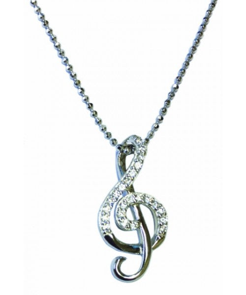Sterling Silver Treble Clef Pendant with Stones