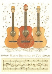 Greetings Card Birthday 3 Guitars Mac Classic