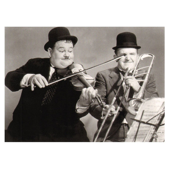 Greetings Card Laurel & Hardy Playing The Fool