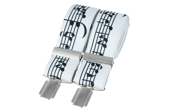 Music Notes on white 35mm silver clip braces