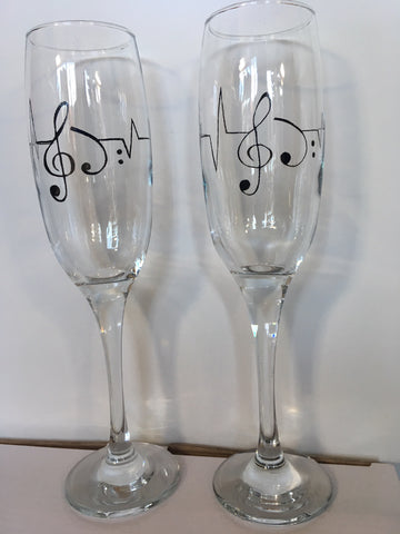 R Crafts Hand Decorated Champagne Glass
