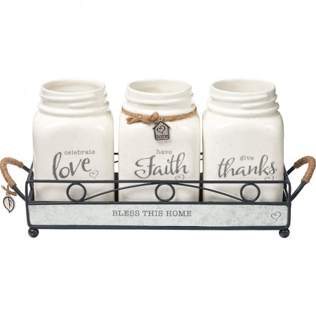 Bless This Home Set of 3 Mason Jars Code: 191416