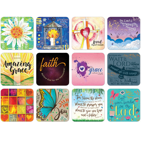 Pack of 12 Christian coasters Code: C183d