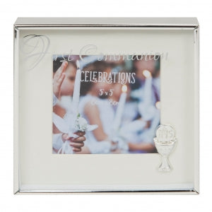 "Silverplated Box Frame 3"" x 3"" - First Communion Code: CG1660COM"