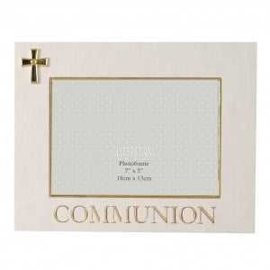 "7"" X 5"" - LINEN LOOK FRAME CROSS ICON - COMMUNION Code: FL326COM"